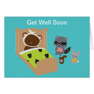 Get Well Soon Sick Bear and Animal Friends Cards