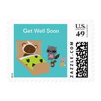 Get Well Soon Sick Bear and Animal Friends Postage