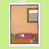 GET WELL SOON: Sick Puppy - art cold flu health Card
