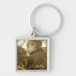 Get Well Soon Silver-Colored Square Keychain