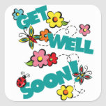 get well soon square sticker