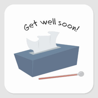 Get Well Soon Square Stickers