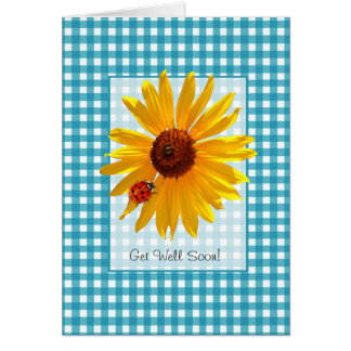 Get Well Soon Summer Sunflower And Ladybug Greeting Card