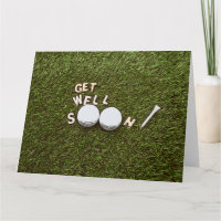Get well soon to golfer with golf ball and tee card
