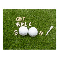 Get well soon to golfer with golf ball and tee postcard