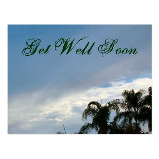 Get Well Soon trees and sky Postcard