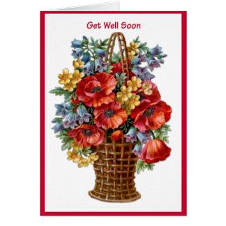 Get Well Soon Vintage Basket Flower Greeting Card