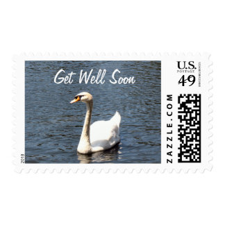 Get Well Soon white swan Postage