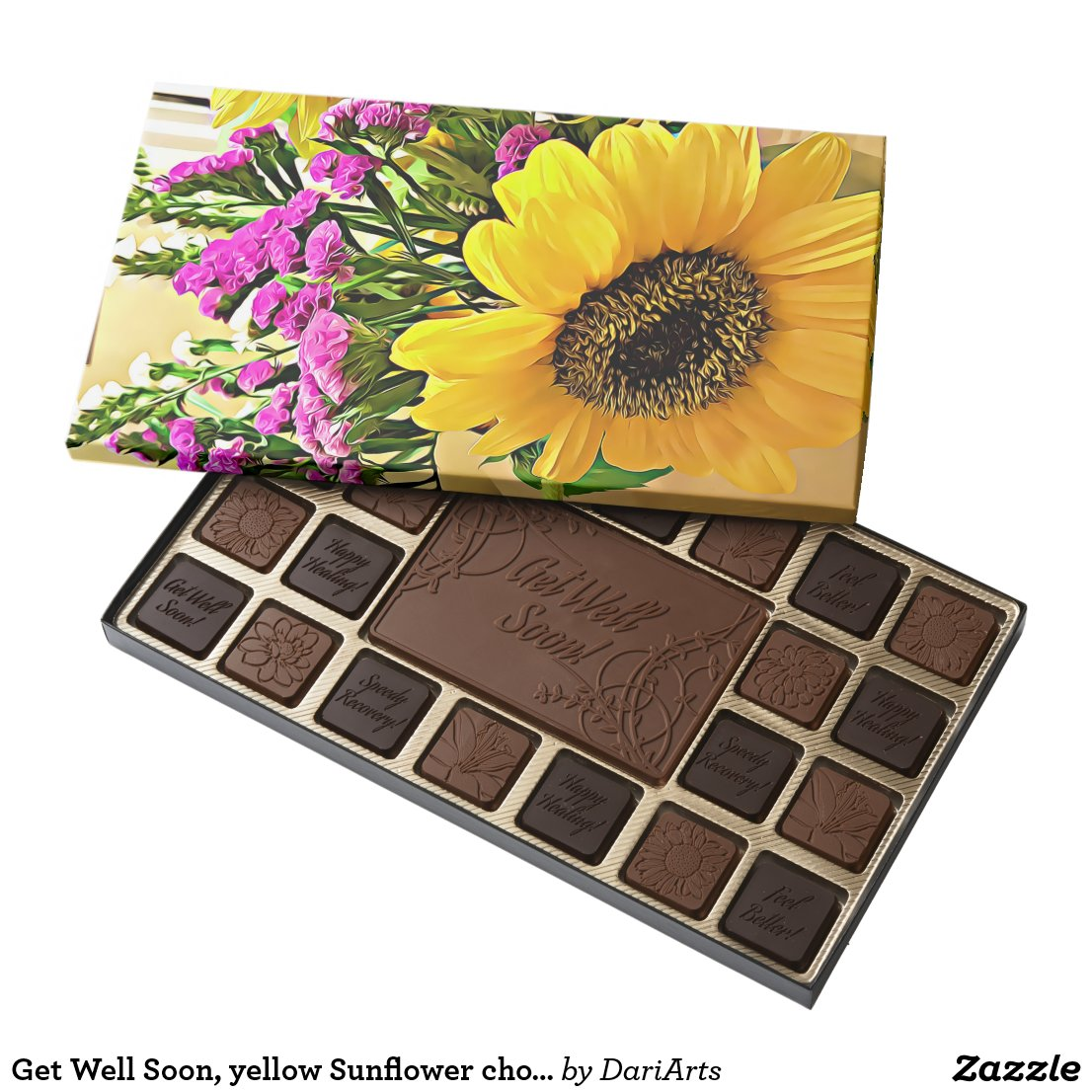 Get Well Soon, yellow Sunflower chocolate box gift