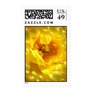 Get Well Soon Yellow Tea Rose and Bubbles Stamps