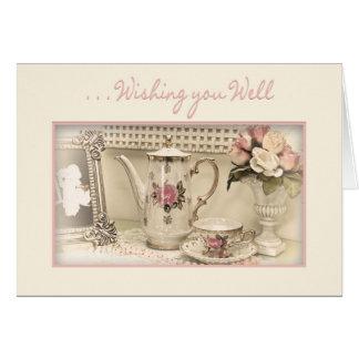GET WELL - Vintage Tea Set Greeting Card