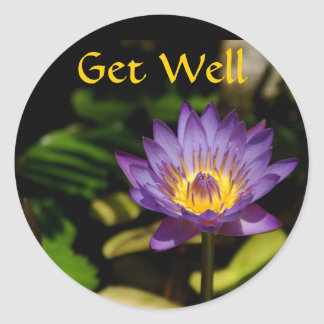 Get Well, Water Lily Classic Round Sticker