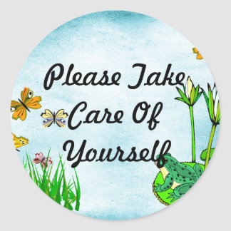 Get Well Water Pond, Butterflies, Frogs Classic Round Sticker