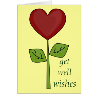 Get Well Wishes - Blooming Heart Flower Card