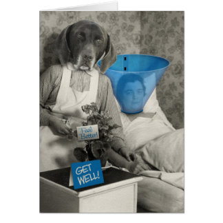 Get Well with Funny Vintage Photo of a Dog Nurse Greeting Card