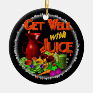Get well with Juice on 100+ items Valxart.com Double-Sided Ceramic Round Christmas Ornament