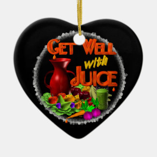 Get well with Juice on 100+ items Valxart.com Double-Sided Heart Ceramic Christmas Ornament