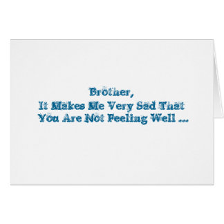 Get Well words, for a brother in blue on white. Card