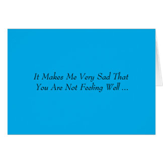 Get Well, words in black on blue background. Card