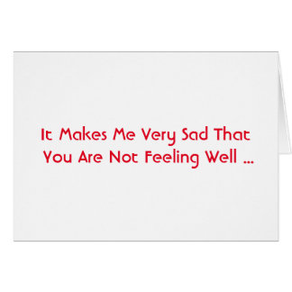 Get Well, words in red on white. Card