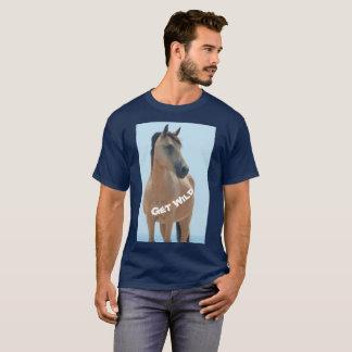 """""""Get Wild"""" Assateague buckskin wild horse t-shirt"""