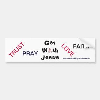 Get With Jesus Praying Bumper Sticker Car Bumper Sticker