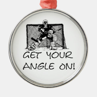 Get Your Angle On! Goalie Hockey Mom Ornament