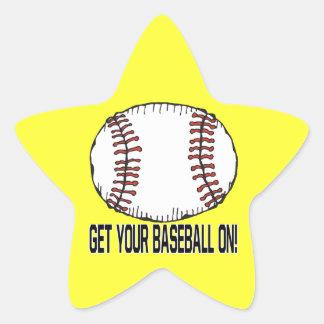 Get Your Baseball On Star Sticker