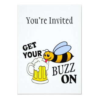 Get Your Buzz On 5x7 Paper Invitation Card
