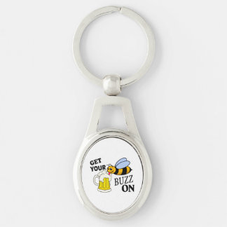 Get Your Buzz On Silver-Colored Oval Metal Keychain