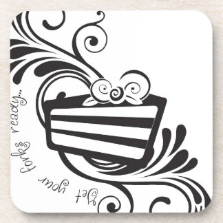Get Your Forks Ready!  Designs for the cake lover! Drink Coaster