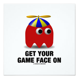 Get Your Game Face On (Red Geek with Propeller) Card