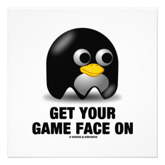 Get Your Game Face On Tux (Linux Penguin) Invitation