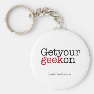 Get your geek on basic round button keychain
