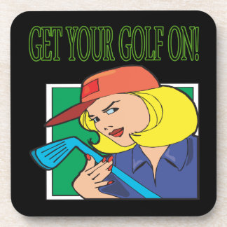 Get Your Golf On Beverage Coasters