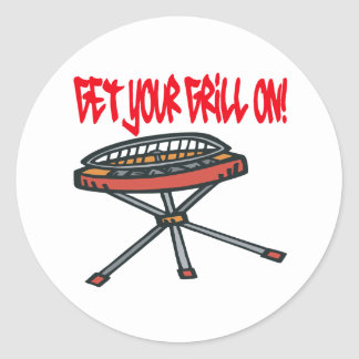 Get Your Grill On Classic Round Sticker