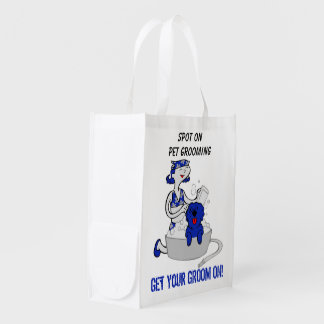 Get Your Groom On in Blue - Pet Grooming Custom Reusable Grocery Bag