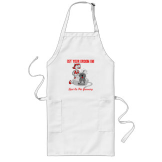 Get Your Groom on in Red Custom Name Long Apron