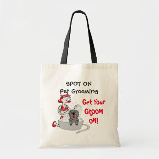 Get Your Groom On Pet Grooming Red and Black Tote Bag