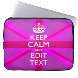 Get Your Keep Calm Text on Fuchsia Union Jack Computer Sleeve
