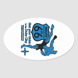 Get your kicks in the Duke City blue Oval Sticker