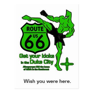 Get your kicks in the Duke City Green Postcard