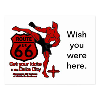 Get your kicks in the Duke City red Postcard
