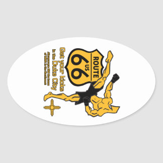Get your kicks in the Duke City yellow Oval Sticker