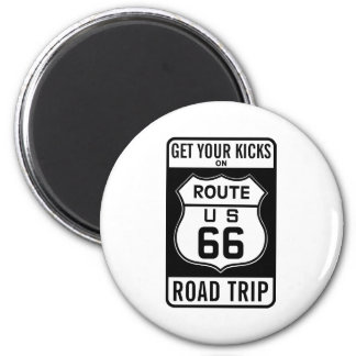 Get Your Kicks On Route 66 2 Inch Round Magnet