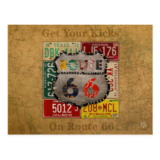 Get Your Kicks on Route 66 License Plate Art Postcard