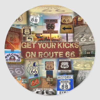 Get your Kicks on Route 66 Round Stickers