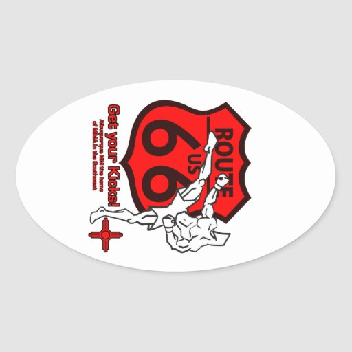 Get your Kicks on Route 66! white n red Oval Sticker