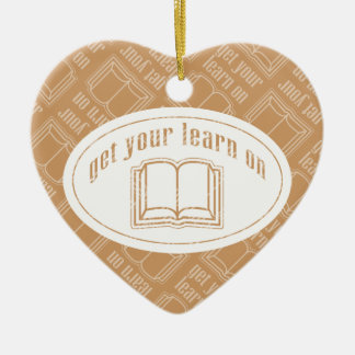 Get Your Learn On Double-Sided Heart Ceramic Christmas Ornament