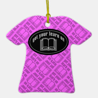 Get Your Learn On School Book Double-Sided T-Shirt Ceramic Christmas Ornament
